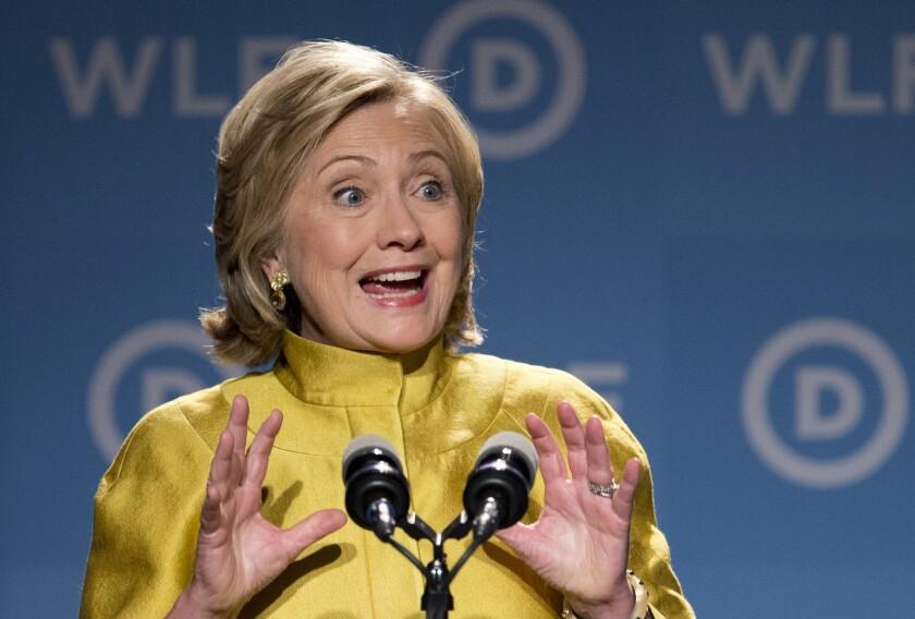 Former Secretary of State Hillary Rodham Clinton speaks in Washington.