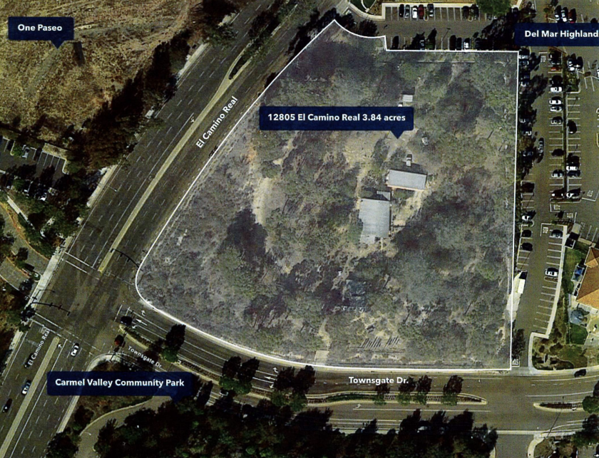 An aerial view of 12805 El Camino Real, which was recently purchased by Scripps Health.