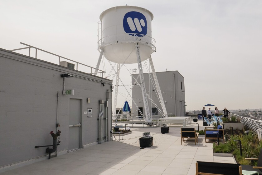 The rooftop deck of the former Ford automobile factory that is now the home for the Warner Music Group in Los Angeles.