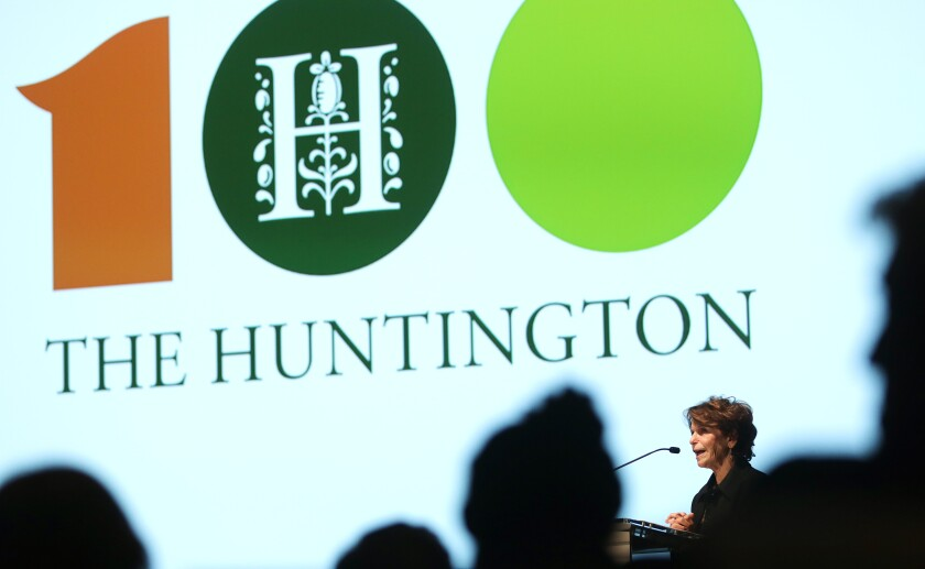 The Huntington's president Karen R. Lawrence speaks during the centennial celebration in San Marino on Thursday, September 5, 2019.