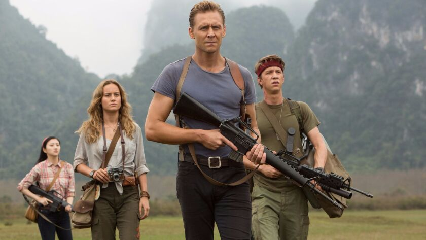 """From left, Jing Tian, Brie Larson, Tom Hiddleston and Thomas Mann in """"Kong: Skull Island."""""""