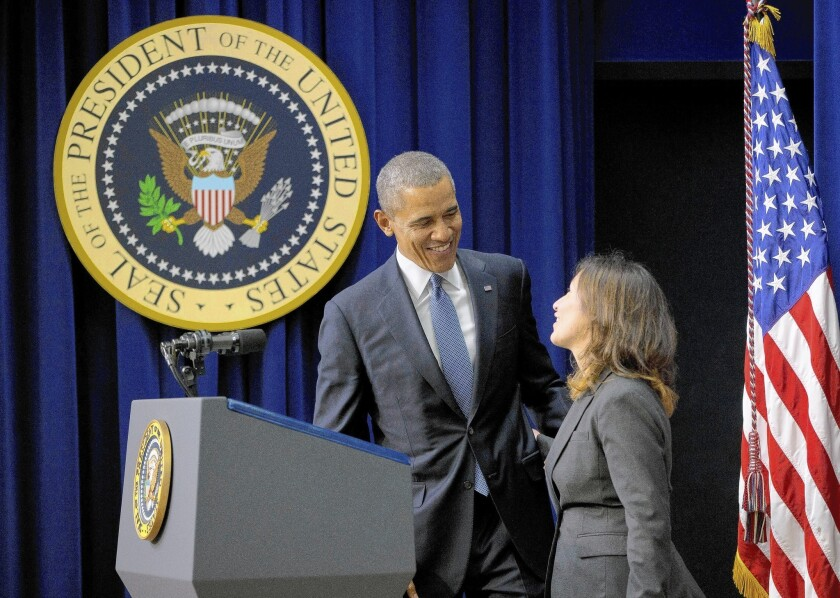 """Julie Chavez Rodriguez introduces President Obama before a screening of the film """"Cesar Chavez"""" at the White House."""