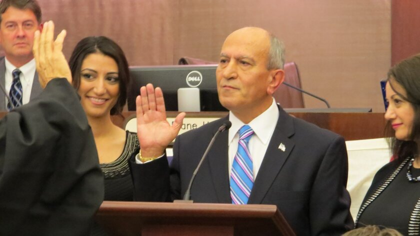 Escondido Mayor Sam Abed during his swearing in ceremony in December.