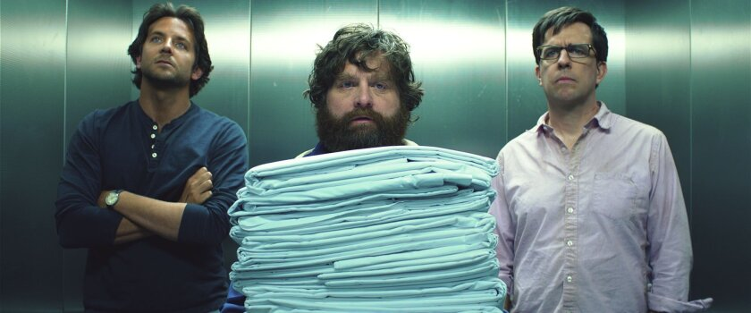 Bradley Cooper, izquierda, Zach Galifianakis, centro, y Ed Helms, regresan en The Hangover Part III.