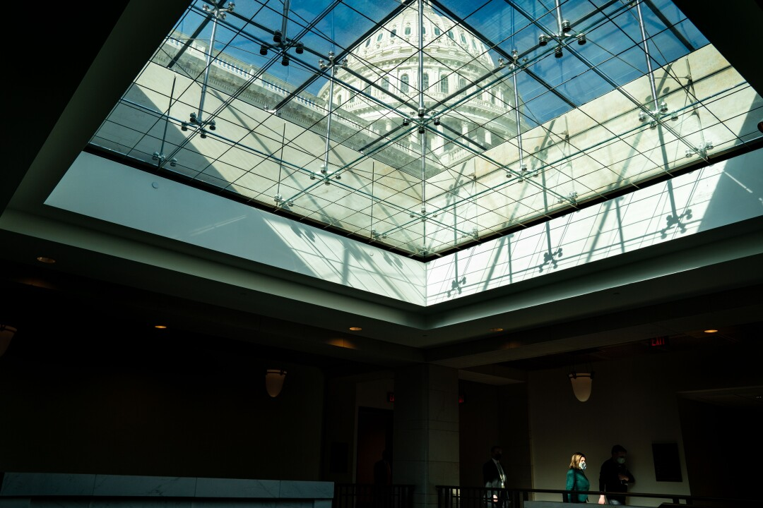 The dome of the U.S. Capitol Building seen through a skylight