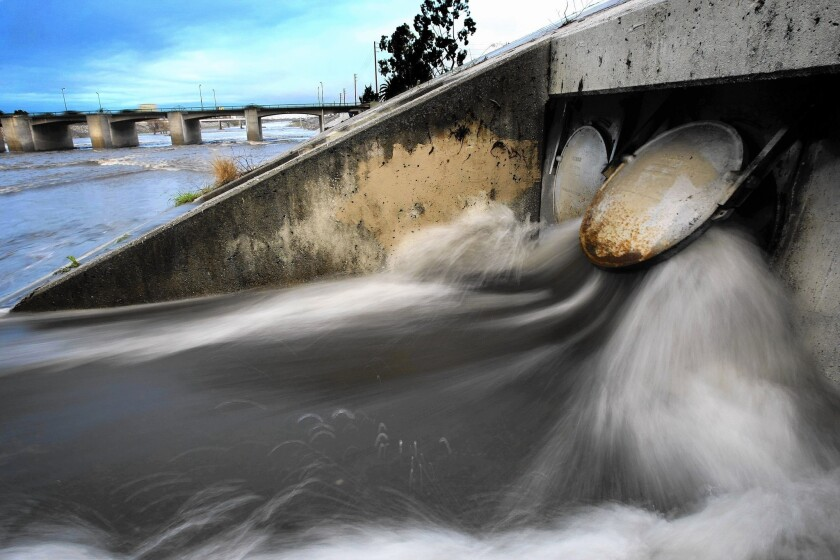 Stormwater gushes into the L.A. River; Los Angeles collects an average of 27,000 acre-feet of rainwater each year, and efforts are underway to greatly increase that amount.