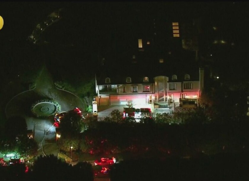 Fire crews respond to the home of actor Denzel Washington Wednesday night.