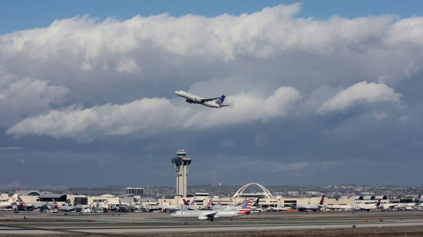 In this Nov. 27 photo, a plane takes off at Los Angeles International Airport. On Tuesday, the Federal Aviation Administration said it is investigating another plane that flew north instead of south.