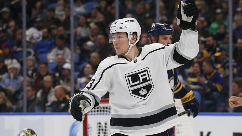 Los Angeles Kings forward Tyler Toffoli (73) celebrates a goal during the second period of an NHL ho