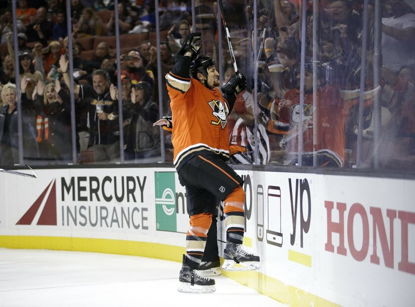 Anaheim Ducks' Chris Stewart celebrates his goal during the second period of an NHL hockey game against the Nashville Predators, Sunday, Nov. 1, 2015, in Anaheim, Calif. (AP Photo/Jae C. Hong)