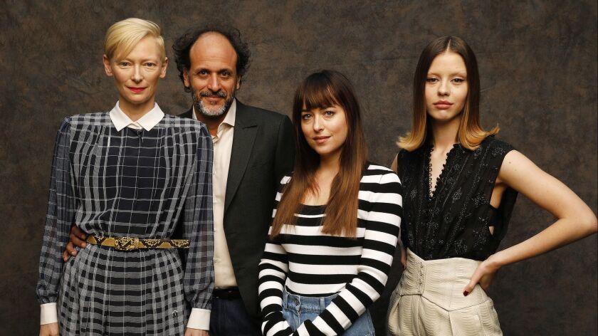 LOS ANGELES, CA - OCTOBER 24, 2018 - Actress Tilda Swinton, Director Luca Guadagnino, actress Dakota
