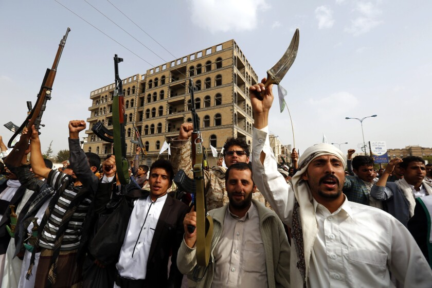 Supporters of the Houthis protest Saudi-led military operations in Sana, Yemen.