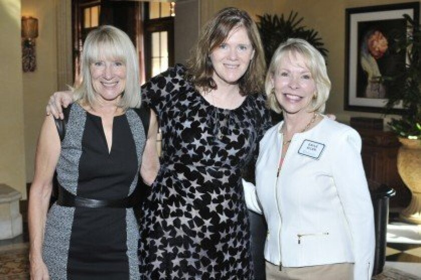 Literary Society President Candace Humber, author Maria Semple, Chapter leader Gayle Allen. Photo/McKenzie Images
