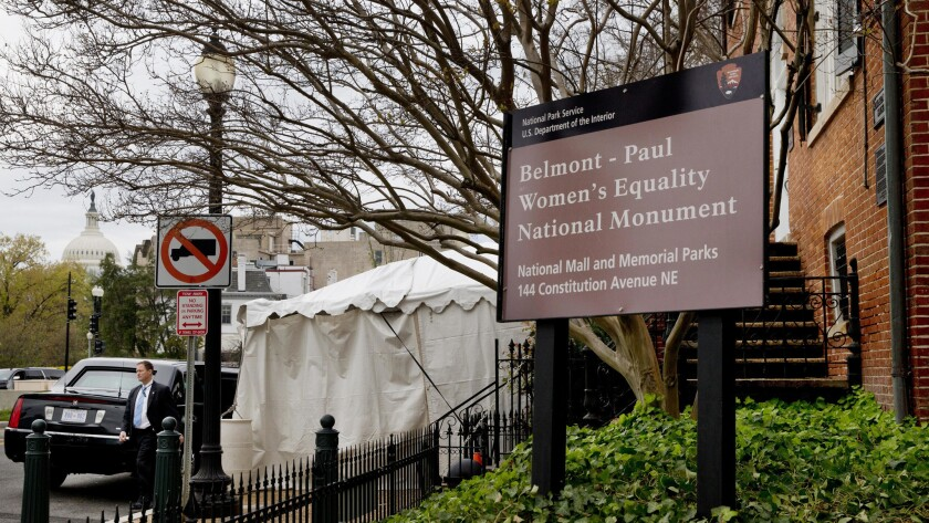 President Barack Obama's limousine sits in front of the newly designated Belmont-Paul Women's Equality National Monument after he spoke there on National Equal Pay Day on April 12.