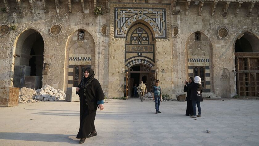 With Aleppo now back under Syrian government control, many families are coming to see the mosque, a