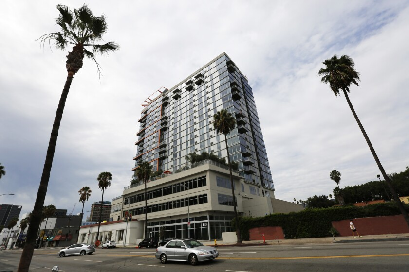 HOLLYWOOD, CALIF. -- SATURDAY, SEPTEMBER 12, 2015: All of the tenants being evicted from the 22-stor