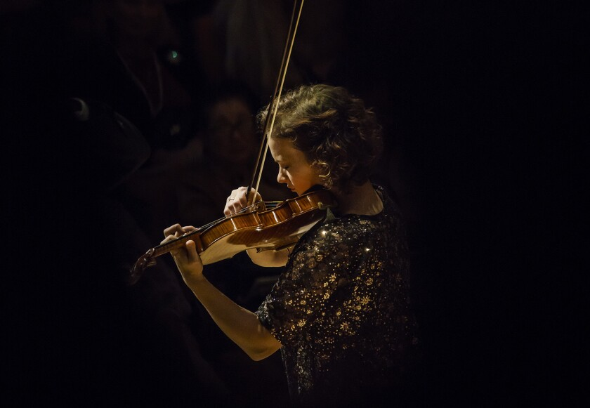 LOS ANGELES, CALIF. -- SUNDAY, DECEMBER 3, 2017: Violin soloist Hilary Hahn is seen performing to 'S