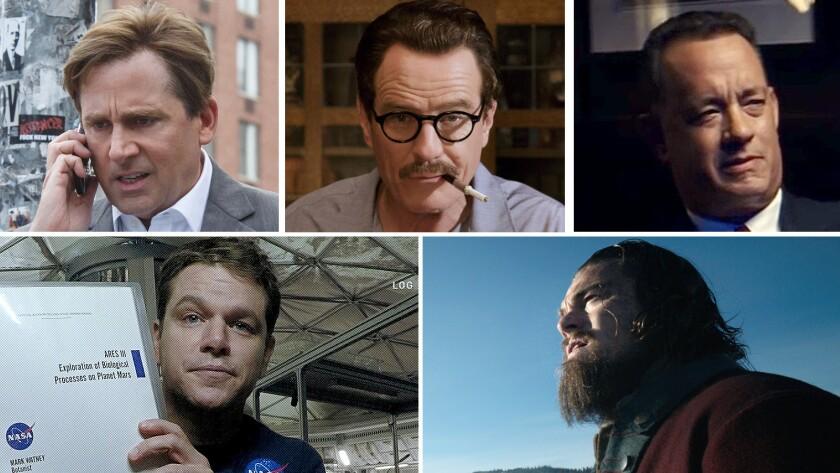"White men triumphing over enormous odds: Steve Carell in ""The Big Short,"" Bryan Cranston in ""Trumbo,"" Tom Hanks in ""Bridge of Spies,"" Leonardo DiCaprio in ""The Revenant"" and Matt Damon ""The Martian."""