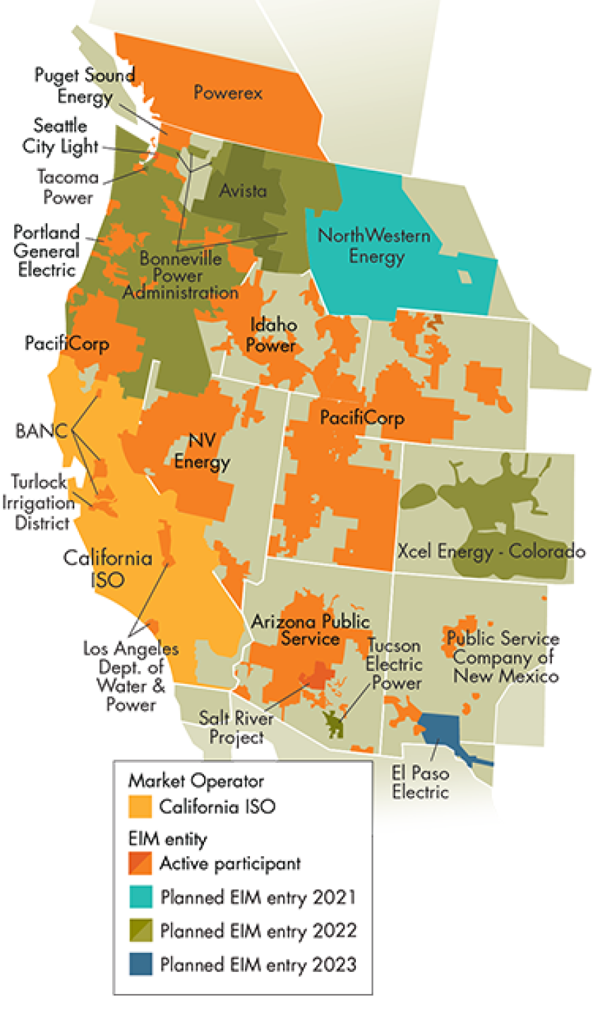 Map showing Western EIM participants and pending participants.