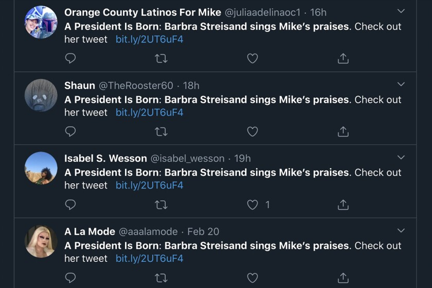 Identical social media messages posted to Twitter by supporters of Michael Bloomberg's presidential campaign, including paid campaign workers. Twitter says messages like these violate its policy against platform manipulation and spam.