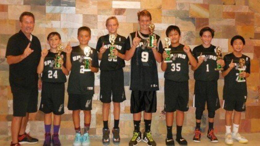 "Summer 2014 Carmel Valley Open Basketball League Champs: ""CV Spurs"": (Above, l-r) Coach Rob Jenkins, Jake Cabulio, Kasen Dickerson, Sean Reed, Holden Brosnan, Justin Lam, Alex Jenkins, Austin Lam."