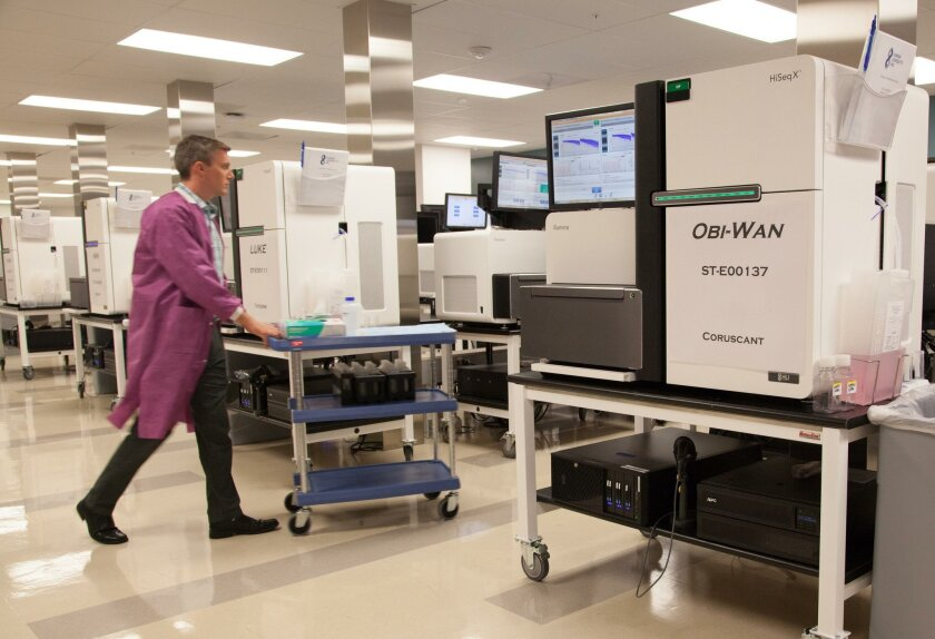 DNA sequencers sport Star Wars monikers in the sequencing building of Human Longevity Inc., based in San Diego.