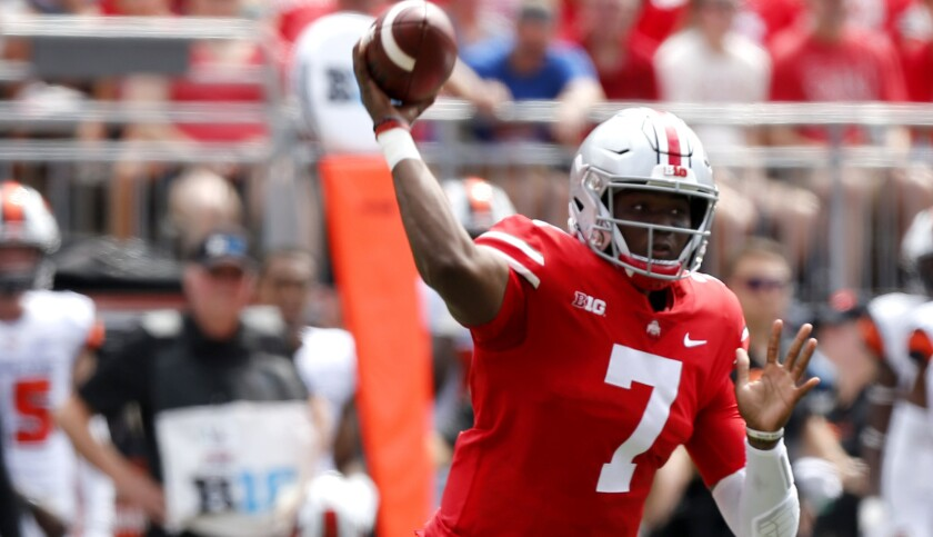 Ohio State quarterback Dwayne Haskins throws a pass against Oregon State during the first half of an
