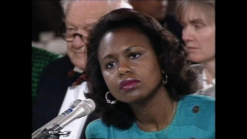 Law professor Anita Hill testifies to the Senate Judiciary Committee in 1991