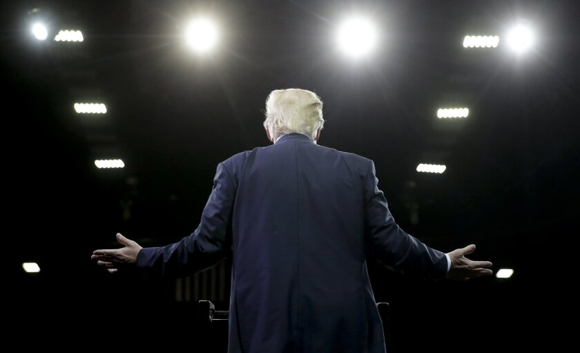 In this May 27, 2016, photo Republican presidential candidate Donald Trump speaks during a rally in Fresno, Calif. (AP Photo/Chris Carlson)