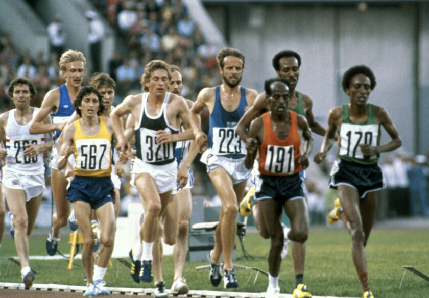 Ethiopia's Miruts Yifter (191) leads the field during the 10,000 Meter Race at the Summer Olympic Games in Moscow in 1980.