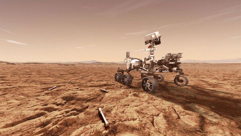A concept illustration provided by NASA of NASA's Perseverance (Mars 2020) rover.