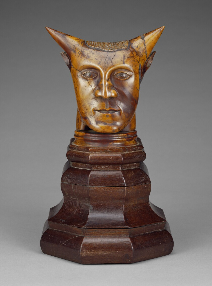 """Head With Horns"" is the wood sculpture formerly attributed to Paul Gauguin. It has been taken off public display at the Getty."
