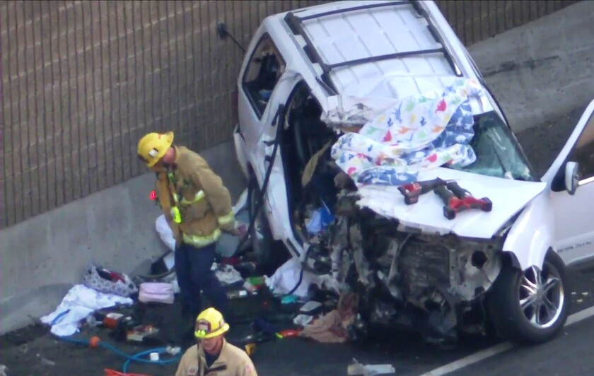 One person was killed and at least six injured in a wrong-way, multivehicle collision on the 101 Freeway in Encino.