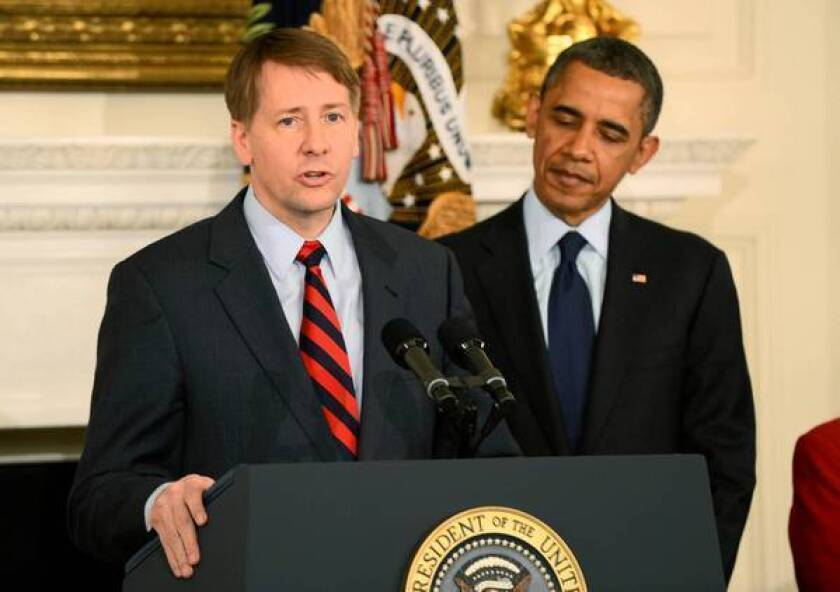 Richard Cordray was appointed consumer chief by President Obama while Congress was on a break.