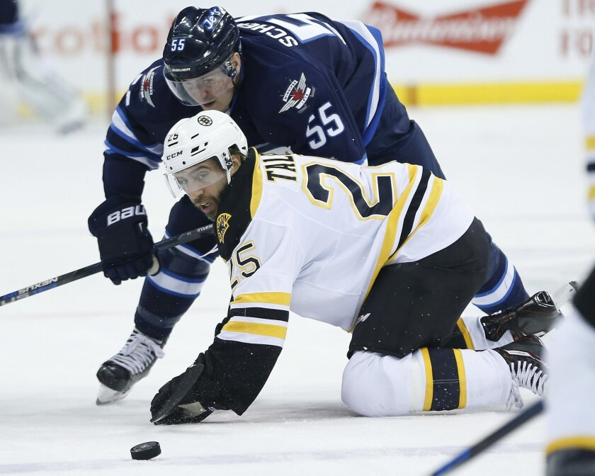 Winnipeg Jets' Mark Scheifele (55) and Boston Bruins' Max Talbot (25) watch a loose puck after a face-off during the second period of an NHL hockey game Thursday, Feb. 11, 2016, in Winnipeg, Manitoba. (John Woods/The Canadian Press via AP)