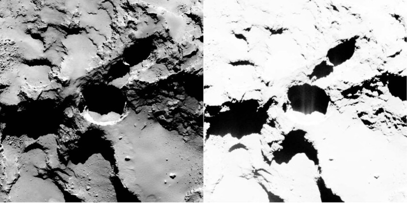 An active pit spotted by Rosetta on comet 67P is shown. Enhancing the contrast (right panel) shows fine structures in the shadow of the pit, interpreted as fine jets of gas.