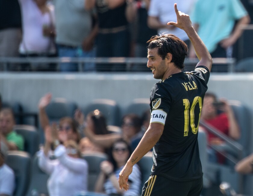 LAFC's Carlos Vela celebrates his first goal of the match against Sporting Kansas City at the Banc of California Stadium on Oct. 6.