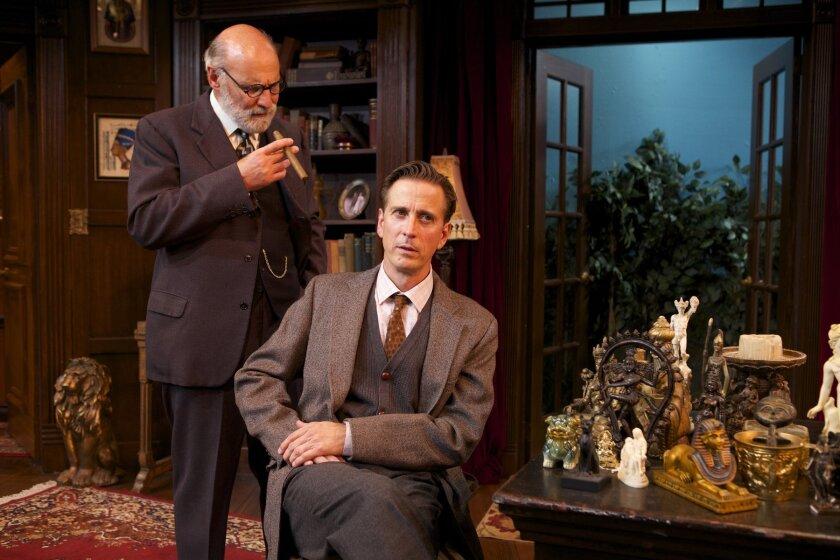 Sigmund Freud (Michael Santo) meets C.S. Lewis (Bruce Turk) at North Coast Rep's premiere of 'Freud's Last session,' onstage through Nov. 9.