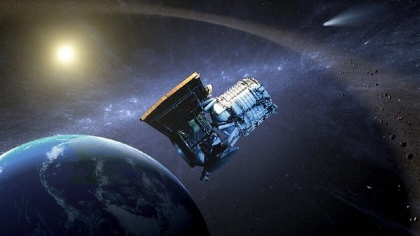 """This artist's concept shows the Wide-field Infrared Survey Explorer in its orbit around Earth. The craft has been """"hibernating"""" since completing an earlier mission."""