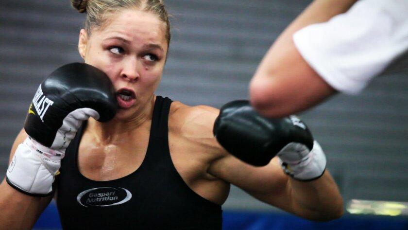 Defending Strikeforce champion Ronda Rousey works out at Glendale Fighting Gym in Glendale, CA. prior to her first title defense in the 135 pound division against former champion Sarah Kaufman. Rousey has rapidly ascended to the spotlight in professional mixed martial arts after winning all six of