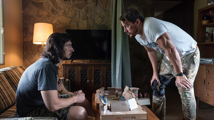 "Adam Driver, left, and Channing Tatum in the movie ""Logan Lucky."""