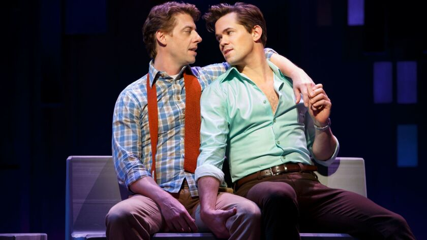 "Christian Borle, left, and Andrew Rannells in ""Falsettos"" on Broadway."