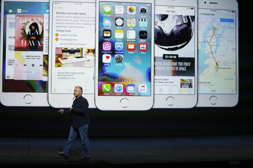 The iPhone 6S and 6S Plus are introduced by Apple senior vice president of worldwide marketing Phil Schiller during an event last week in San Francisco.
