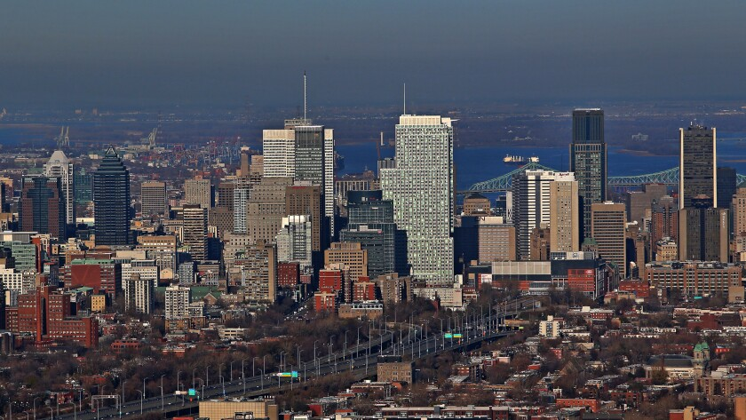 An aerial view of the Montreal skyline on Nov. 18, 2012.