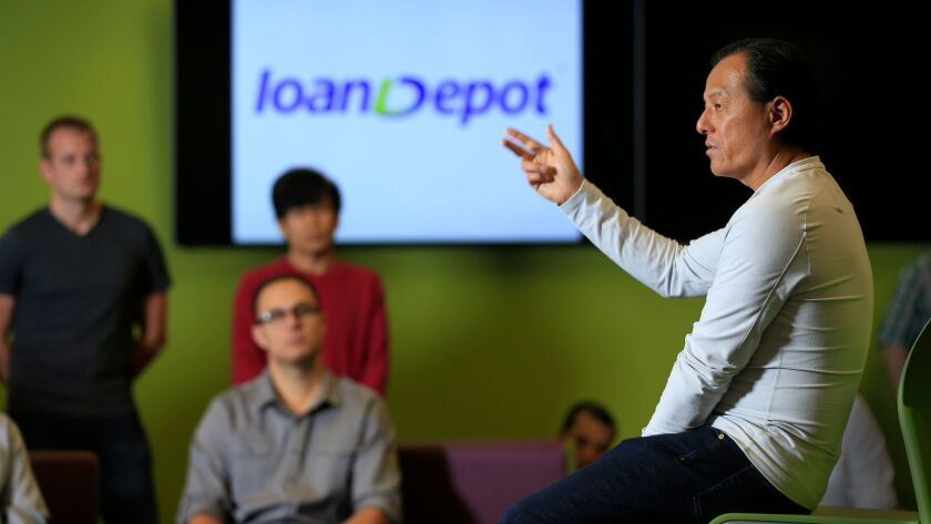 Anthony Hsieh, CEO and founder of online mortgage lender LoanDepot, speaks to employees in Lake Forest last year.