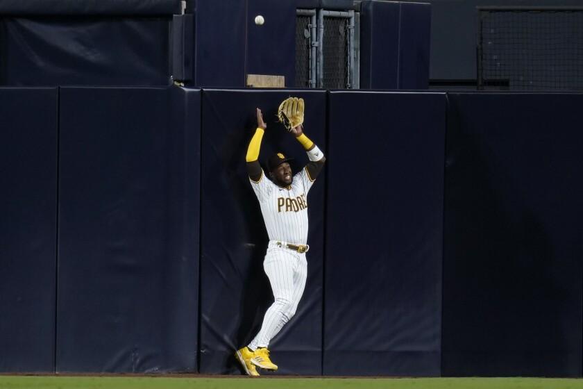 San Diego Padres center fielder Jurickson Profar can't reach a home run