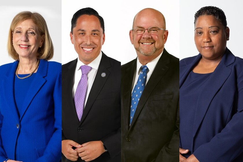 2020 San Diego mayoral candidates Barbara Bry, Todd Gloria, Scott Sherman and Tasha Williamson.