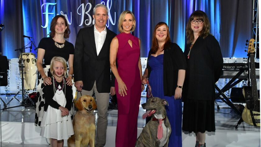 "Casey Kleekamp (with Purina, sponsor), Emmy Kleekamp, Curtis Walz (with ""Charlotte"") and Barbara"