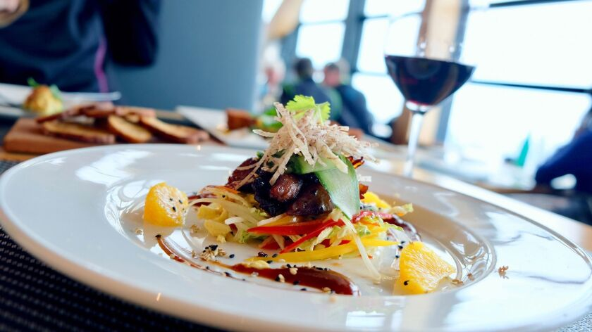 The BBQ duck salad at Christine's on Blackcomb delivers a meal with a view at 6,000 feet. Benjamin