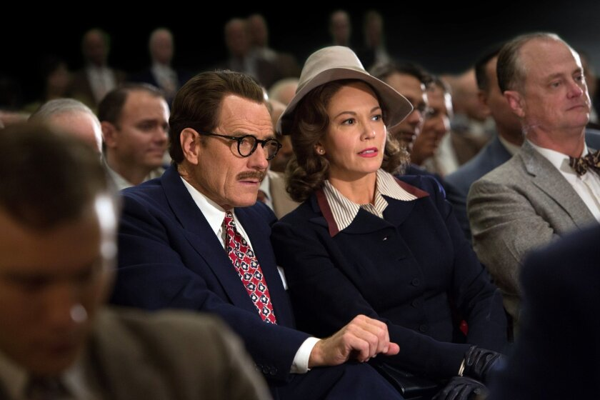 """This photo provided by Bleecker Street shows, Bryan Cranston as Dalton Trumbo, and Diane Lane as Cleo Trumbo, in Jay Roach's """"Trumbo,"""" a Bleecker Street release. The movie opens in U.S. theaters on Friday, Nov. 6, 2015. (Hilary Bronwyn Gayle/Bleecker Street via AP)"""